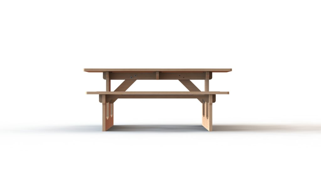 Side view of the picnic table
